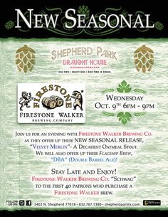 I love me an Oatmeal Stout mustache. Come get your own tonight from 6 p.m. - 9 p.m. Firestone Walker Brewing Co. will be featuring their new seasonal, Velvet Merlin!
