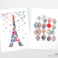 Carte voeux - tour eiffel paris france - losange géométrique - peinture aquarelle reproduction pastel multicolore