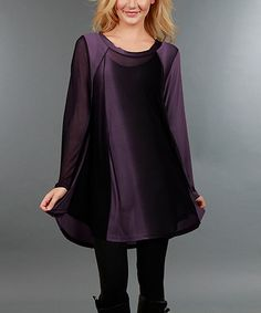 Look at this #zulilyfind! Purple & Black Sheer-Accent Tunic - Plus #zulilyfinds