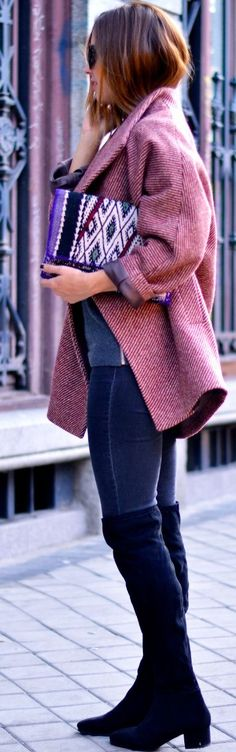Pink Coat Fall Street Style Inspo women fashion outfit clothing stylish apparel @roressclothes closet ideas