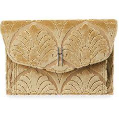 Hayward Venetian Brocade Envelope Clutch Bag featuring polyvore, women's fashion, bags, handbags, clutches, purses, gold, handbags clutches, brocade purse, brown handbags, handbag purse, envelope clutch and flap handbags