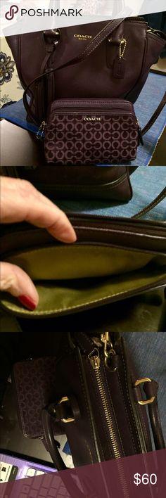 The coach eggplant purse Handy strap handles unique zipper Coach Other