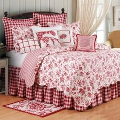 Crisp red and white bedding in gingham and floral
