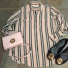 """LOFT blush striped blouse LOfT blush colored white and black striped blouse size small excellent condition. Bought this season and wore once. I love it but the colors are not good for my complexion. 100% polyester. Loose fit. 26.5"""" length and chest 18"""". LOFT Tops Blouses"""