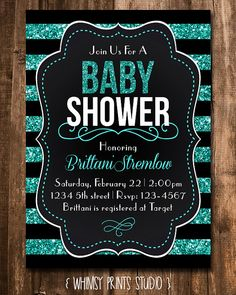 Baby shower invitations black and white stripes gold glitter baby shower invitation black teal blue by whimsyprintsstudio 1000 filmwisefo Images