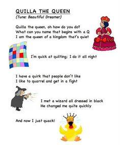 Alphabet letter song Q (words from Frog Street Press).. link... https://docs.google.com/leaf?id=0B8JEqYoVwlm2YzJlZjk1OWEtZmJiMS00YTRjLThhMDMtNThiMjg0MWVlNWE0&hl;=en_US