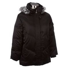 Satiny Puffer Jacket with Faux Fur -Plus
