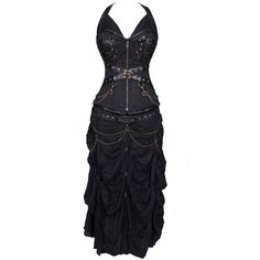 100% Poly Brocade Gothic Overbust Corset Dress ($135) ❤ liked on Polyvore