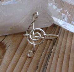 Treble Clef Ring - Wire Wrapped Musical Note Jewelry - Wire Wrapped Ring - Made to Order - Silver Plated Copper