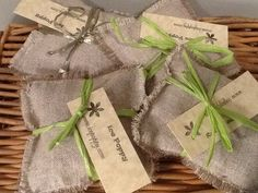 These rustic looking lavender pillows are made with 100% linen and filled with lavender to create a wonderful scented sachet/pouch. Each one measures 4x4 inches. Throw them in your underwear drawer, l