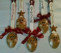 Hand Painted Gingerbread Men Man Gingers Wooden Spoons Ornaments Bowl Fillers
