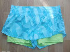 New Women's MPG Teal Yellow Shorts Gym Yoga Sport Run Double Shorts SZ L #mpgperformance #Shorts