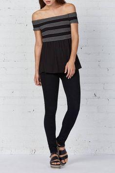 a15046670e6c3 Shoptiques Product  Black Off-Shoulder Top - main Black White Fashion