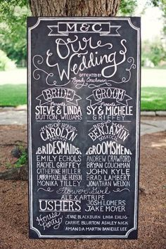 program idea   chalkboard program instead of printed programs... i love this idea, but not chalk. could be kept and hung somewhere in the house if it wasn't so big