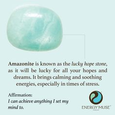 Amazonite is known as the lucky hope stone, as it will be lucky for all your hopes and dreams! It brings calming and soothing energies, making it the perfect healing crystal for times of stress.