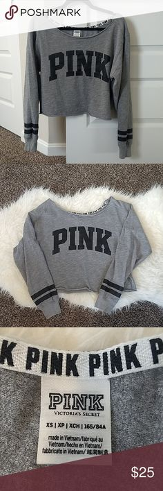 3da0b35416c VS PINK cropped raw hem gray sweatshirt size XS Victoria's Secret PINK  Cropped off the shoulder
