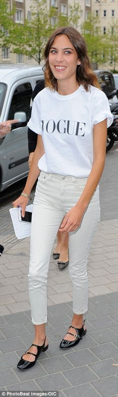 Summer ready: Chung arrived at the Royal Geographical Society in cream cropped jeans and M...