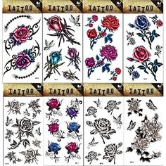 8pcs different long lasting and realistic temp tattoo stickers designs in 1 package, it including black and white flowers,colorful flowers and butterflies tattoo stickers * Want to know more, click on the image. (This is an affiliate link) #Makeup