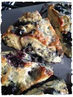 Blackberry-Blueberry Scones with Honey-Butter Glaze