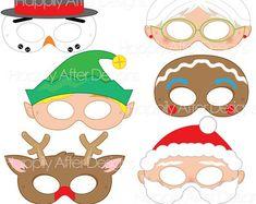 Christmas Printable Masks, santa mask, snowman mask, rudolph, gingerbread, elf, costume mask, mrs claus, mask costume, printable mask, xmas