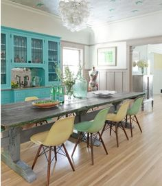 Dining room with blue cabinet