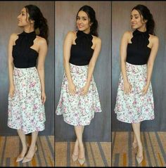 Actress Shraddha Kapoor wearing brand Cover Story for 'Half Girlfriend' promotions in Kolkata Bollywood Outfits, Bollywood Actress Hot Photos, Beautiful Bollywood Actress, Bollywood Fashion, Bollywood Girls, Chic Outfits, Trendy Outfits, Fashion Outfits, Shraddha Kapoor Cute