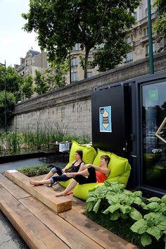 Floating Gardens, Giant Chalkboards, Climbing Walls Along Banks of Seine in Paris | Urban Gardens