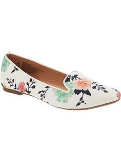 Womens Patterned Smoking Flats; These would be super cute with ripped light wash jeans!