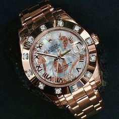 Stunning PEARLMASTER 34mm with very special golden dust dream dial Ref 81315 ...