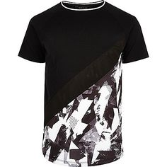 Black and white geo panel T-shirt - print t-shirts - t-shirts / vests - men T Shirt Vest, Tank Shirt, Tank Man, Latest Fashion Clothes, Fashion Outfits, River Island Fashion, Printed Shirts, Sleeve Styles, Cool Style