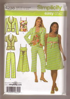 Simplicity 4238 Misses Dress or Top, Cropped Pans and Lined Jacket sewing pattern Choose Your Size by Noahslady4Patterns on Etsy