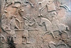 Pictish warriors from an early stone in Scotland