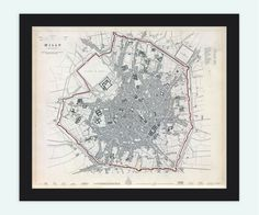 Old Map of Milan Milano City Plan Italia 1832 by OldCityPrints