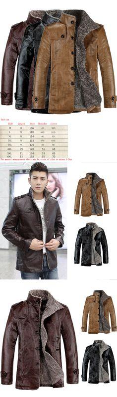 Men Coats And Jackets: Fashion Men S Warm Winter Jacket Leather Coat Fur Parka Fleece Jacket Slim Coat -> BUY IT NOW ONLY: $31 on eBay!