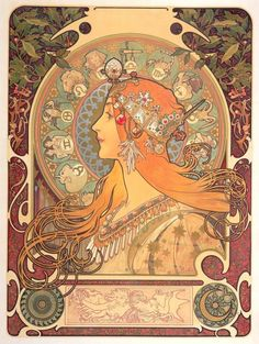 'Zodiac',1896; Zodiac was Mucha's first work under his contract with the printer Champenois and wasoriginally designed as an in-house calendar for the company. In this composition, Mucha incorporated twelve zodiac signs in the halo-like disk behind the woman's head, one of Mucha's customary motifs. The majestic beauty of the woman is emphasised by her regal bearing and elaborate jewellery.