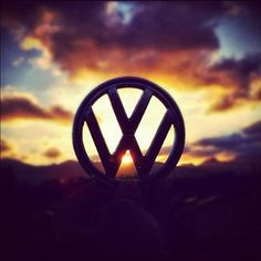 vw logo sunset