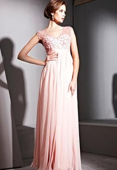 Pink Lace Bridesmaid Dress With Beading 81129