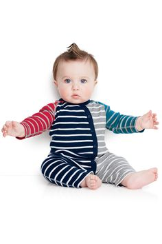 Stripe Happy Romper In Organic Cotton | Hanna Andersson