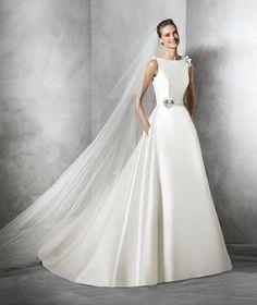 Telde, robe de mariée moderne, pierres fines