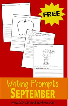 These FREE Creative Writing Prompts from 123 Homeschool 4 Me contain a black & white illustration your child can color as well as a writing p Kindergarten Writing Prompts, First Grade Writing, Writing Prompts For Kids, Teaching Writing, Writing Skills, Writing Activities, In Kindergarten, Literacy, Teaching Language Arts