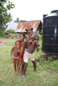 Saramaccaners childeren at the Marron village Nieuw Aurora Suriname