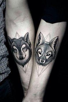 Tattoo wolf fox love art body