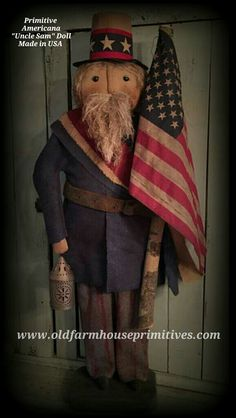 """Primitive Americana """"Uncle Sam"""" Doll (Made In USA)"""
