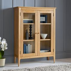 Regal Display Cabinet with Lighting Glazing Furniture, Oak Furniture House, Furniture Deals, Furniture Design, Furniture Risers, Regal Display, Oak Display Cabinet, Walnut Bookcase, Dcor Design
