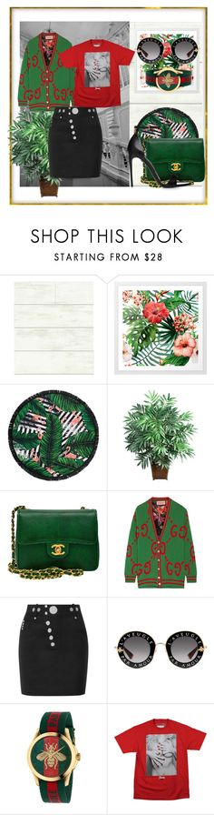 """""""Green cardigan"""" by lukretiak ❤ liked on Polyvore featuring Magnolia Home, LaMont, Nearly Natural, Chanel, Gucci, Alexander Wang, GREEN and cardigan"""