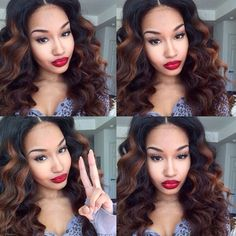 Density Human Hair Full Lace Wigs Ombre Lace Front Wigs For Black Women Brazilian Curly Wigs Glueless Human Hair Wigs Love Hair, Gorgeous Hair, Lace Closure, Curly Hair Styles, Natural Hair Styles, Ponytail Styles, Hair Ponytail, Natural Beauty, Lace Front