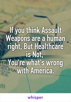 If you think Assault Weapons are a human right, But Healthcare is Not,  You're what's wrong with America.