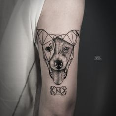 Geometric Jack Russell tattoo