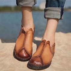 原创手工鞋民族风女鞋真皮纯皮单鞋平底休闲鞋文艺复古头层牛皮鞋-淘宝网