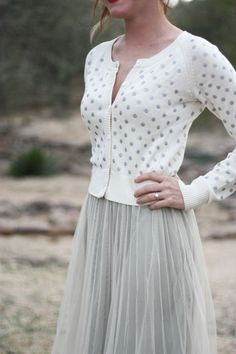 tulle skirt + polka dot cardigan